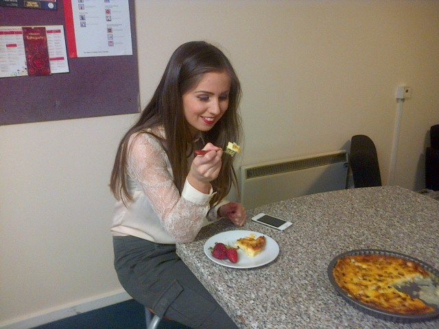 Kathryn eating my Impossible Pie